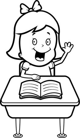 A happy cartoon child student at a desk in school.