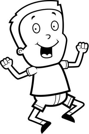 A happy cartoon boy jumping and smiling. Иллюстрация