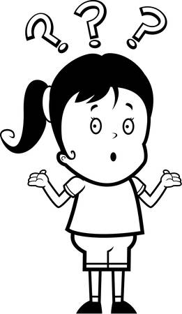A cartoon girl with a confused expression. Imagens - 43715769