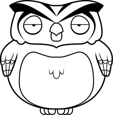 A cartoon brown owl standing up.