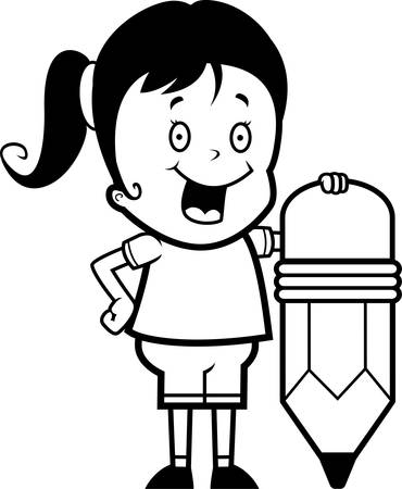 adolescent: A happy cartoon girl with a pencil. Illustration