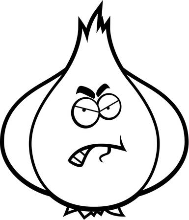 A cartoon illustration of a garlic bulb with an angry expression.
