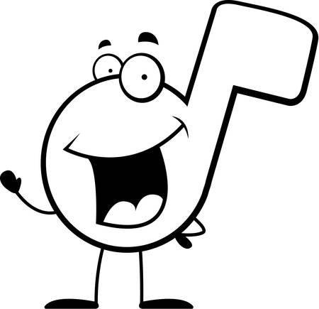 A happy cartoon musical note waving and smiling. Illusztráció