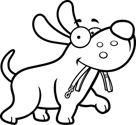 leash: A cartoon dog walking with a leash in his mouth. Illustration