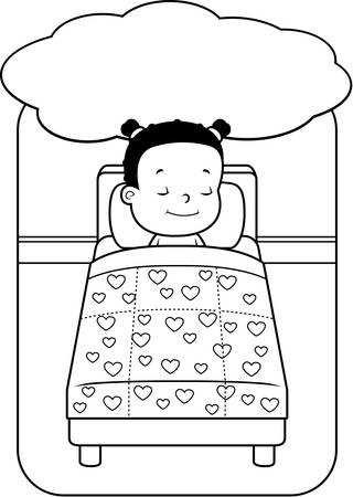 dreaming girl: A happy cartoon girl in bed dreaming. Illustration