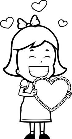 バレンタインの幸せ漫画女の子。