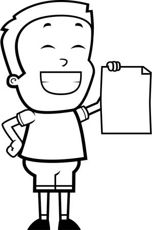 accomplish: A happy cartoon boy with a proud expression. Illustration