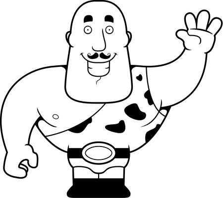 strongman: A happy cartoon strongman waving and smiling.