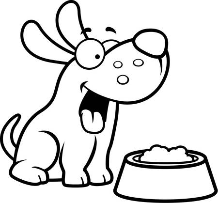 Un ejemplo de la historieta de un perro con un plato de comida.