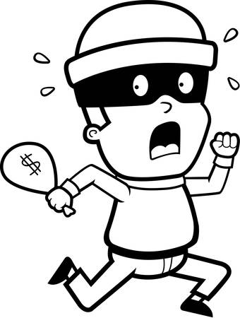 burglar: A cartoon kid burglar running in fear.