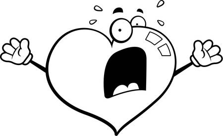 A cartoon heart with a scared expression. Çizim