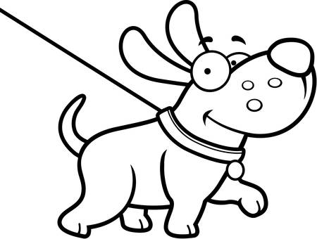 A cartoon illustration of a dog on a leash going for a walk.