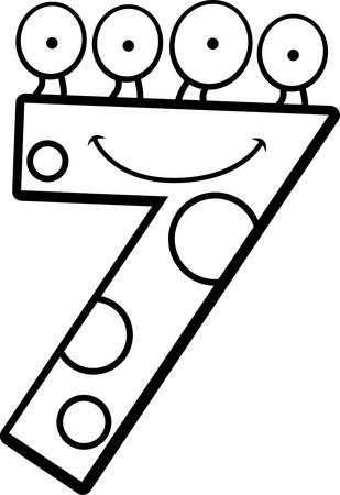 numbers clipart: A cartoon illustration of a number seven monster smiling and happy. Illustration