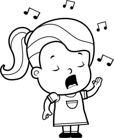 girl singing: A cartoon toddler girl singing a song.