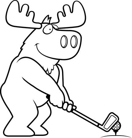 rt: A cartoon illustration of a moose playing golf.