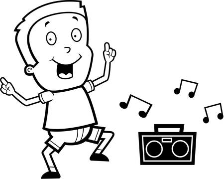 adolescent: A happy cartoon boy dancing and smiling. Illustration