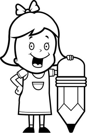 pencil drawings: A happy cartoon girl with a pencil. Illustration