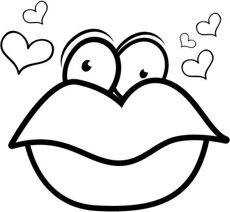 kissing lips: Big cartoon red lips surrounded by hearts. Illustration