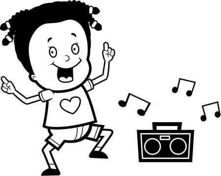 adolescent: A happy cartoon girl dancing and smiling.