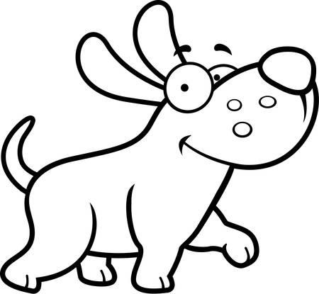 dog walking: A happy cartoon dog walking and smiling.