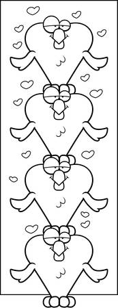 Several cartoon heart shaped bird stacked on top of each other.