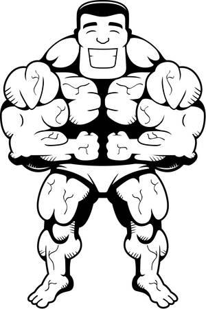 flexing: A happy cartoon bodybuilder flexing and smiling. Illustration