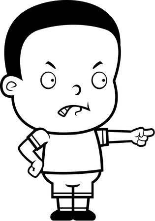 toddler: A cartoon toddler boy angry and pointing. Illustration