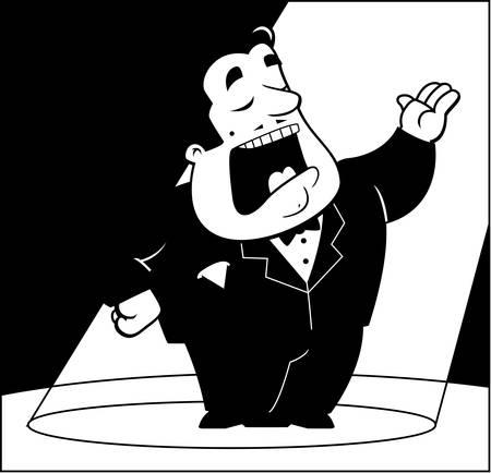 A cartoon opera singer under a spotlight. 向量圖像