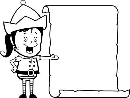 christmas list: A happy cartoon Christmas elf with a list.