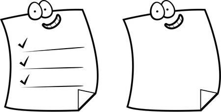 웃 고 행복 만화 스티커 메모의 그룹입니다. 일러스트