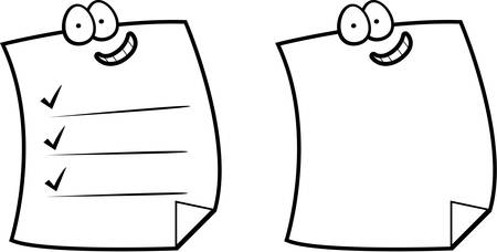 Un groupe de bande dessinée notes autocollantes souriant et heureux. Banque d'images - 43782717