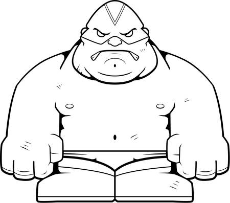 A cartoon big luchador with an angry expression.