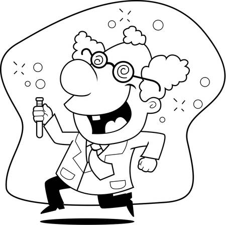 Een gelukkig cartoon gekke wetenschapper lopen en glimlachen. Stockfoto - 43782775