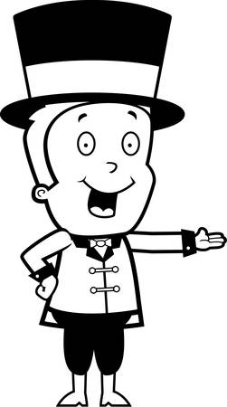 ringmaster: A happy cartoon child ringmaster smiling and presenting. Illustration
