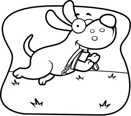 A cartoon dog jumping with a leash in his mouth.