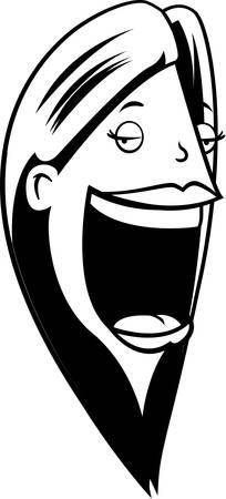 Een cartoon vrouw met een grote mond. Stock Illustratie