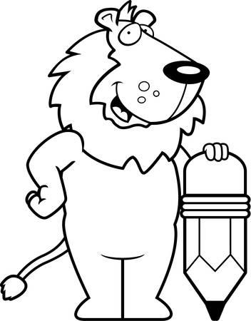 A happy cartoon lion with a pencil.