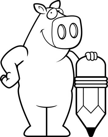 A happy cartoon pig with a pencil.