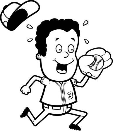 little league: A cartoon illustration of a child playing baseball.