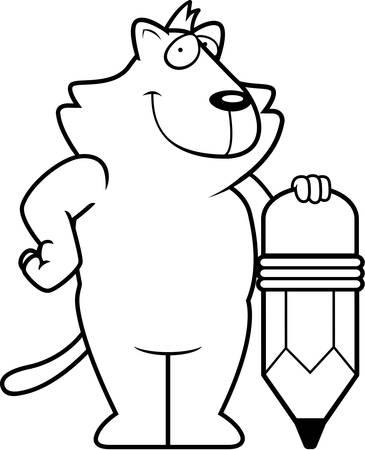 Un chat de dessin animé heureux avec un crayon. Banque d'images - 43783099