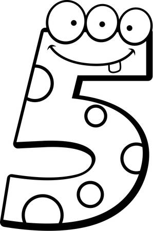 numbers clipart: A cartoon illustration of a number five monster smiling and happy. Illustration