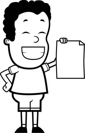 accomplish: A happy cartoon child proudly holding a piece of paper.