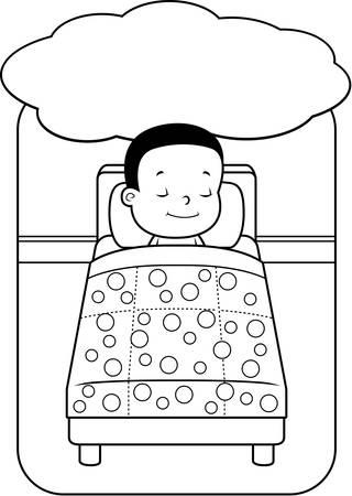 A happy cartoon toddler boy having a dream.