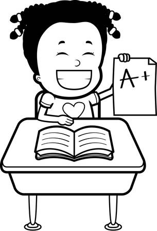 grades: A happy cartoon student with good grades. Illustration