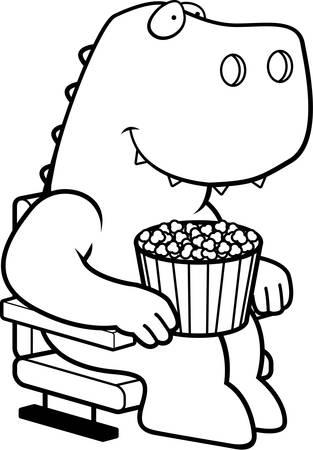 A cartoon illustration of a Tyrannosaurus Rex dinosaur at the movies.