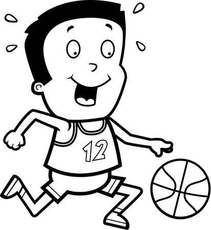 hispanic boys: A cartoon illustration of a boy playing basketball. Illustration