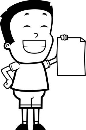 accomplish: A cartoon illustration of a boy looking proud. Illustration