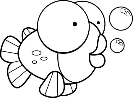 Een kleine cartoon oranje vis met bubbels.