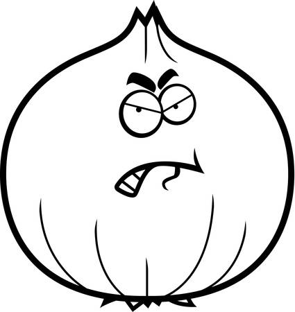 A cartoon illustration of an onion with an angry expression.