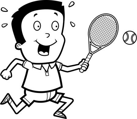 hispanic boys: A cartoon illustration of a boy playing tennis. Illustration